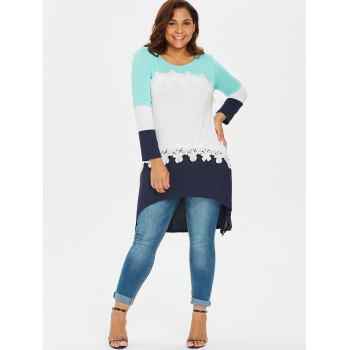 Plus Size Color Block High Low T-shirt - multicolor 2X
