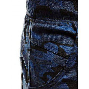 Camouflage Printed Pockets Cuffed Jogger Pants - NAVY CAMOUFLAGE L