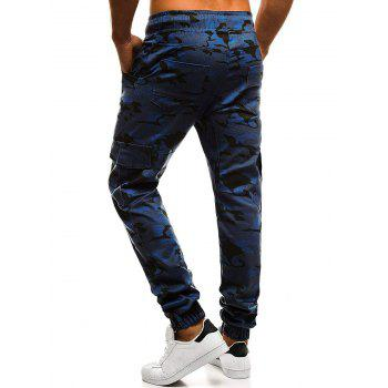 Camouflage Printed Pockets Cuffed Jogger Pants - NAVY CAMOUFLAGE S