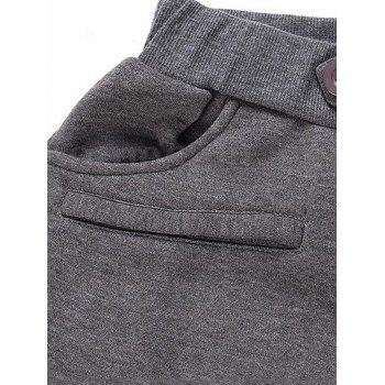 Pleated Button Fly Sport Jogger Pants - DARK GRAY L
