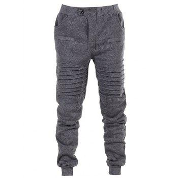 Pleated Button Fly Sport Jogger Pants - DARK GRAY S