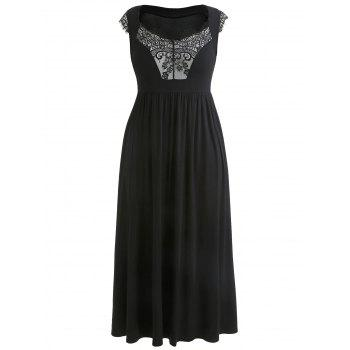 Plus Size Lace Panel Cap Sleeve Dress - BLACK 3X