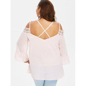 Back Criss Cross Lace Insert Plus Size Blouse - LIGHT PINK 1X