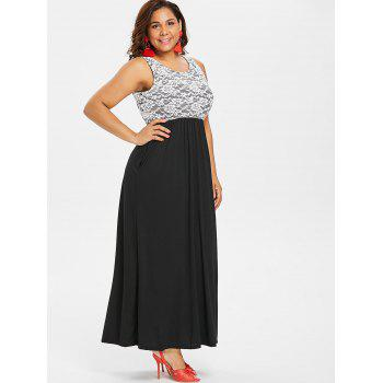 Plus Size Lace Floor Length Dress - BLACK 2X