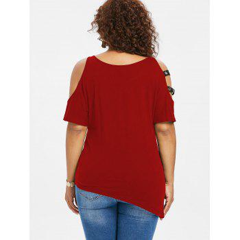 Plus Size Cutout Asymmetrical T-shirt - RED 2X