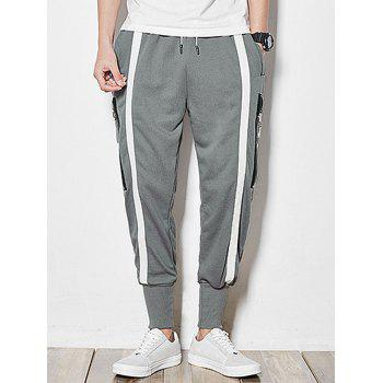 Side Zipper Pocket Stripes Patch Harem Pants - GRAY XL