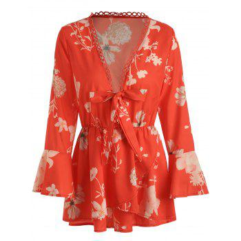 Floral Print Flare Sleeve Romper - RED XL