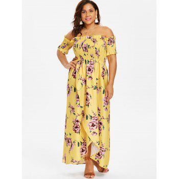 Plus Size Tulip Off Shoulder Dress - YELLOW 1X