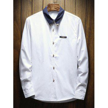 Chest Metal Embroidery Edge Contrast Shirt - WHITE S