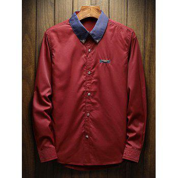 Chest Metal Embroidery Edge Contrast Shirt - RED WINE M