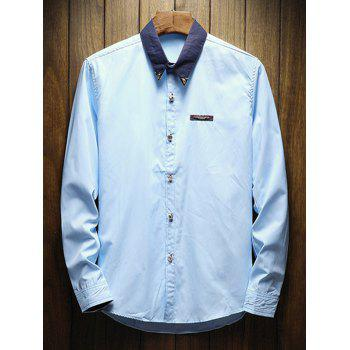 Chest Metal Embroidery Edge Contrast Shirt - LIGHT BLUE XS