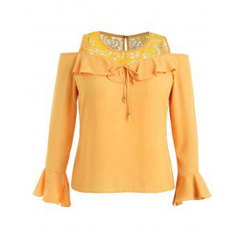 Plus Size Open Shoulder Lace Ruffle Blouse - BEE YELLOW 3X