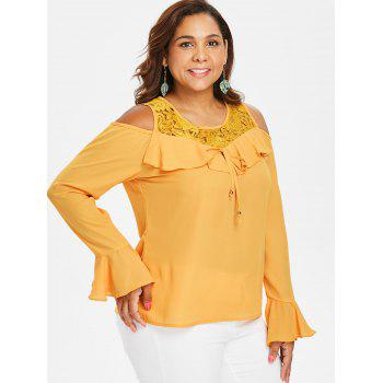 Plus Size Open Shoulder Lace Ruffle Blouse - BEE YELLOW 4X