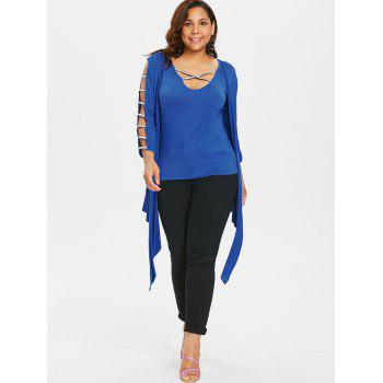 Plus Size Criss Cross Tank Top with Cardigan - BLUE 5X
