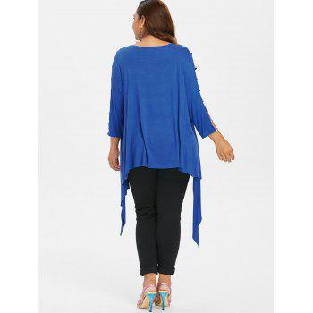 Plus Size Criss Cross Tank Top with Cardigan - BLUE L