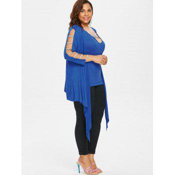 Plus Size Criss Cross Tank Top with Cardigan - BLUE 2X
