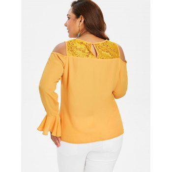 Plus Size Open Shoulder Lace Ruffle Blouse - BEE YELLOW L