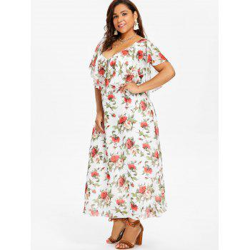 Robe Maxi Floral Grande Taille Plongeante - Blanc 3X