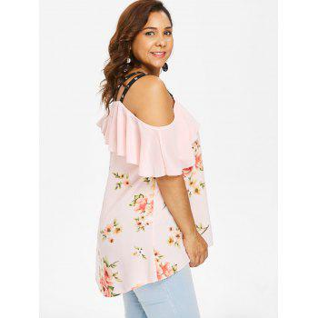 Plus Size Grommets Embellished High Low Blouse - LIGHT PINK L