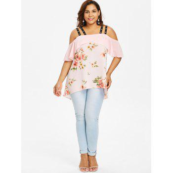Plus Size Grommets Embellished High Low Blouse - LIGHT PINK 2X