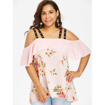 Plus Size Grommets Embellished High Low Blouse - LIGHT PINK 4X