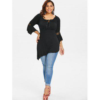 Plus Size Lace Trim Empire Waist Top - BLACK 2X