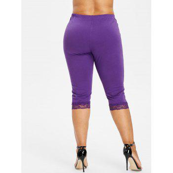 Plus Size High Waisted Lace Hem Leggings - PURPLE 1X
