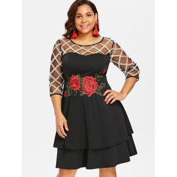 Plus Size Sheer Yoke Embroidery Tiered Dress - BLACK L