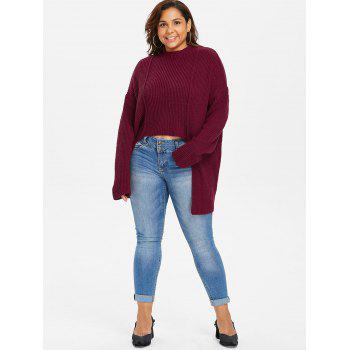 Plus Size Drop Shoulder High Low Sweater - RED WINE 5X