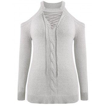 Plus Size Cut Out Cable Knit Sweater - LIGHT GRAY 4X