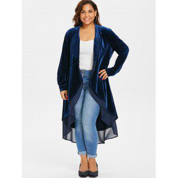 Plus Size Longline Asymmetrical Velvet Coat - DEEP BLUE 3X