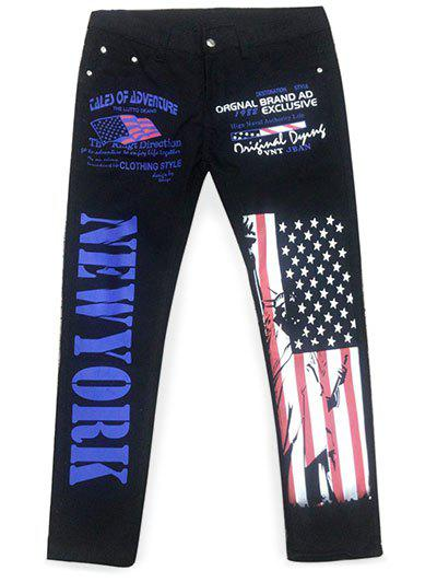 Zip Fly Artistic Letter American Flag Pockets Jeans - BLACK 32