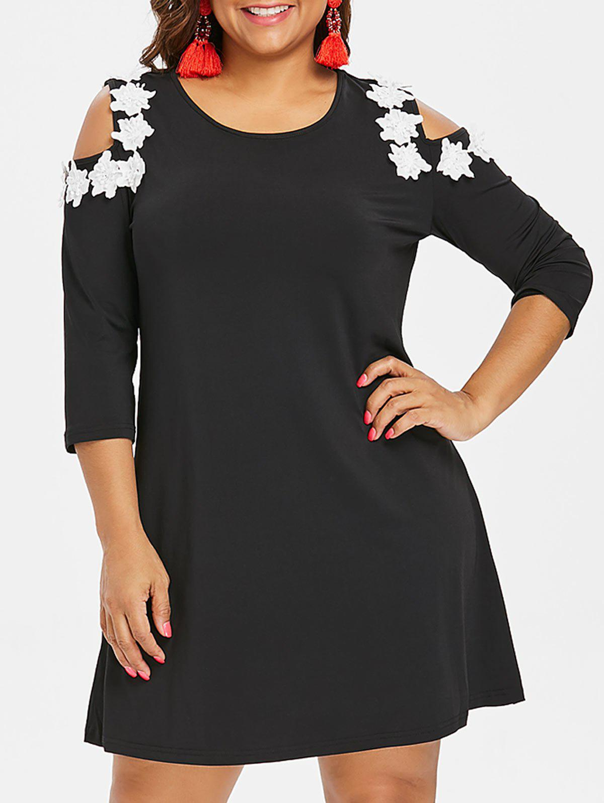 Plus Size Mini Cold Shoulder Dress - BLACK 4X