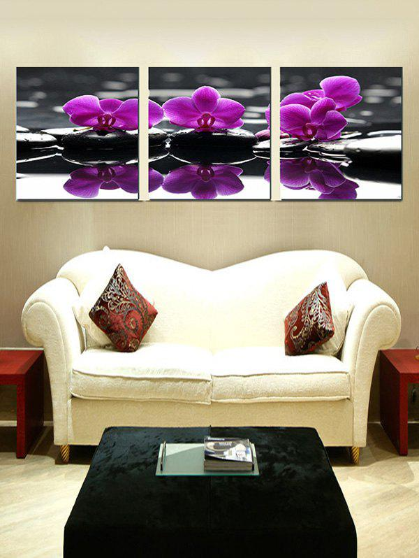 Butterfly Orchid Print Split Canvas Wall Paintings - multicolor 3PCS:24*35 INCH( NO FRAME )
