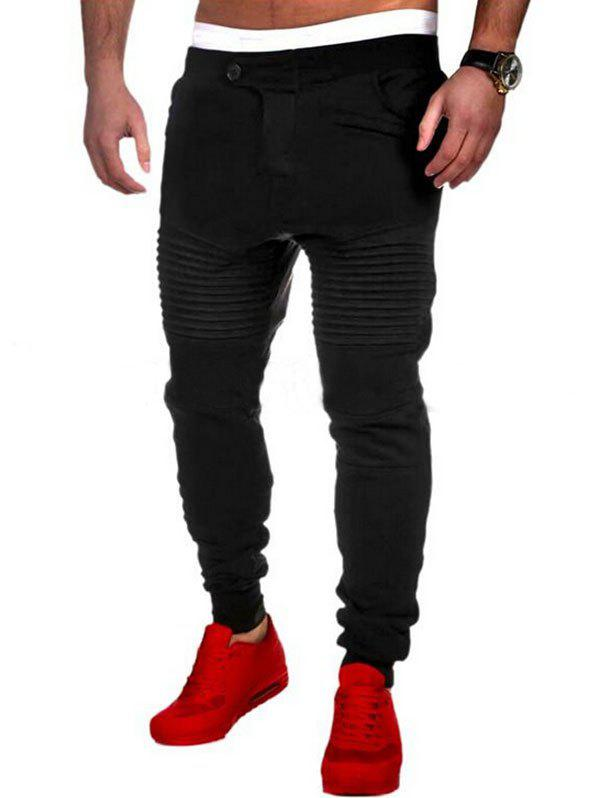 Pleated Button Fly Sport Jogger Pants - BLACK M