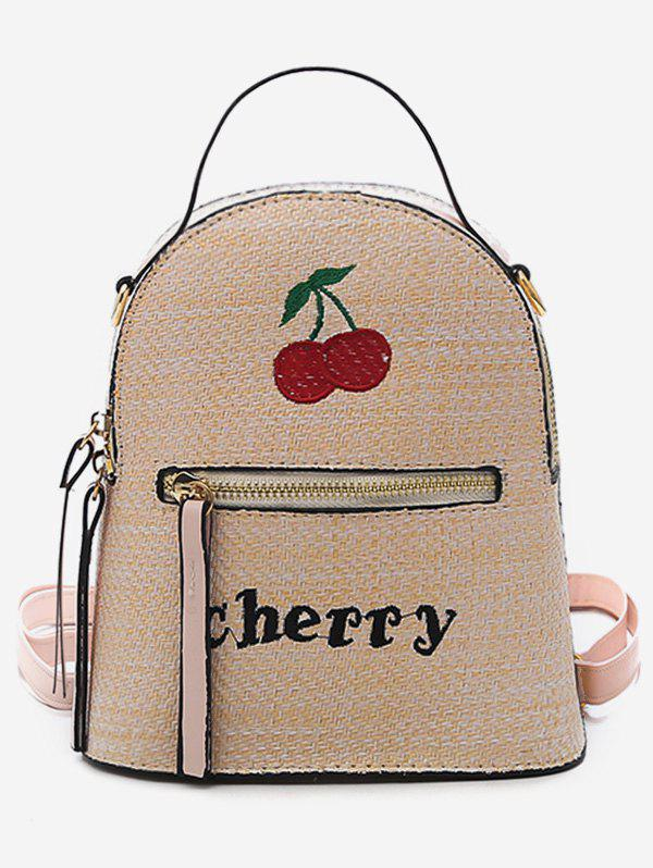 Top Handle Fruit Letter Embroidery Backpack - APRICOT