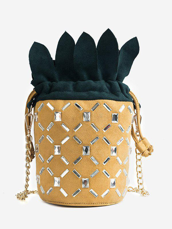 Contrasting Color Pineapple Crystals Chain Bag -
