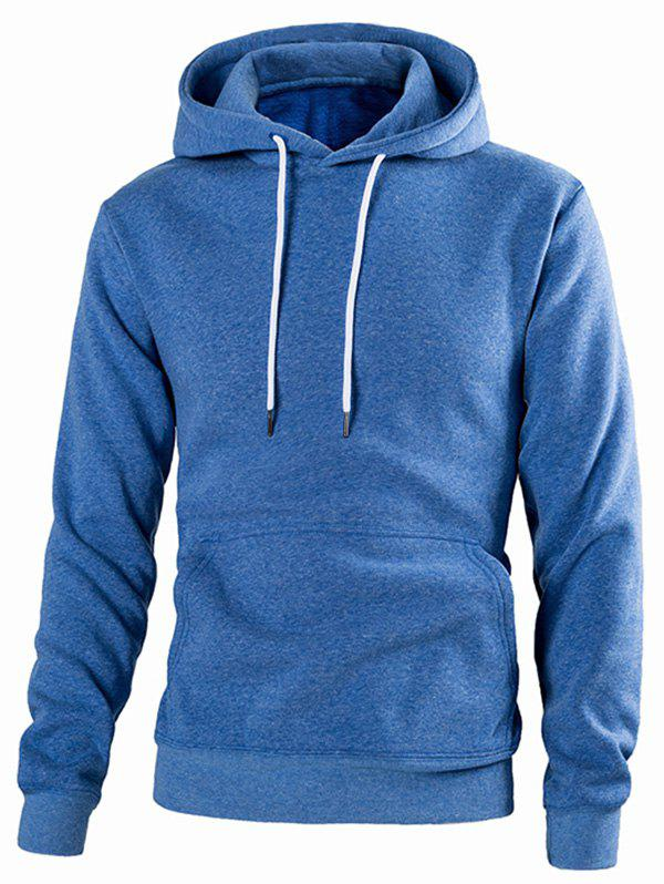 Casual Solid Color Drawstring Hoodie - BLUE L