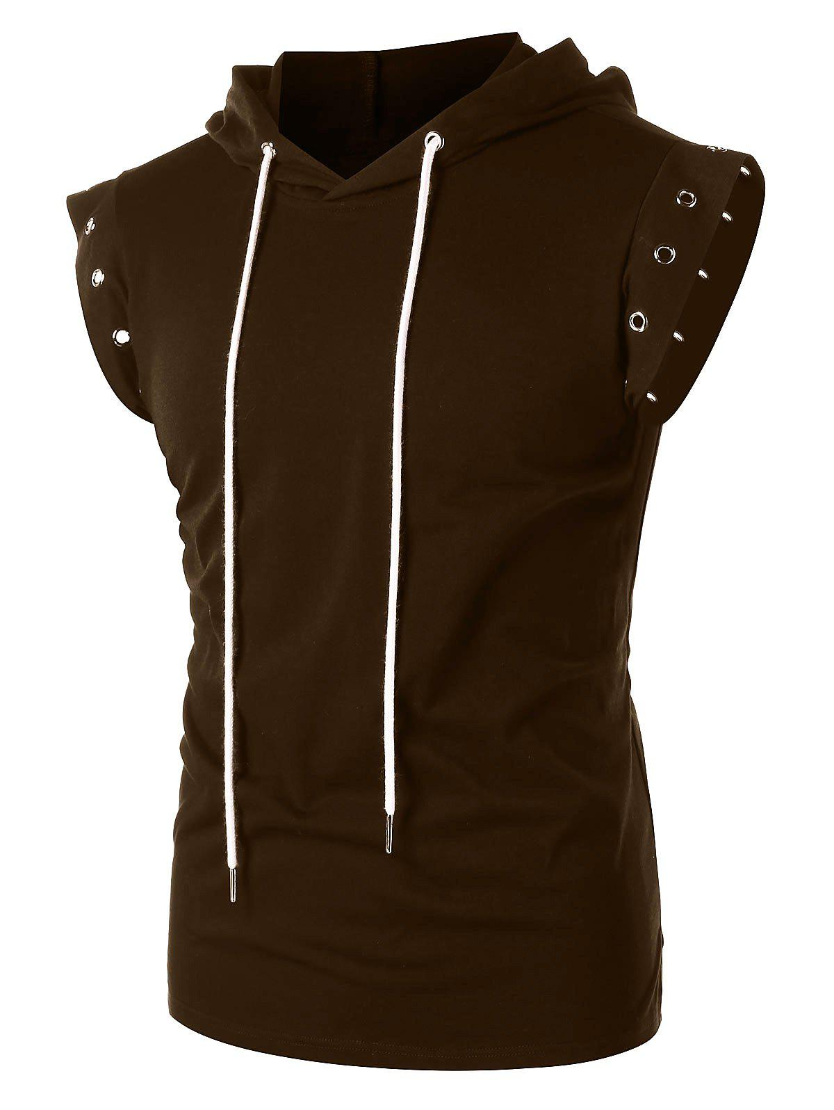 Drawstring Lace Up Solid Color Sleeveless Hoodie - COFFEE L