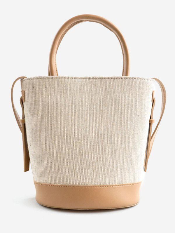Color Block Canvas Leisure Tote Bag -