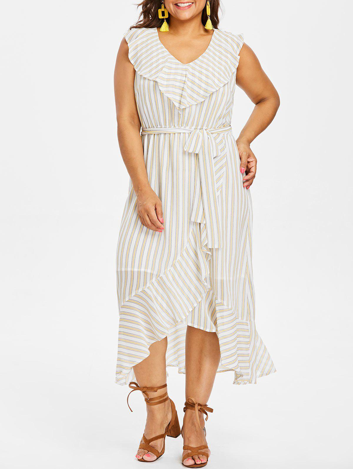 Plus Size Striped V Neck Flounce Dress - WHITE L