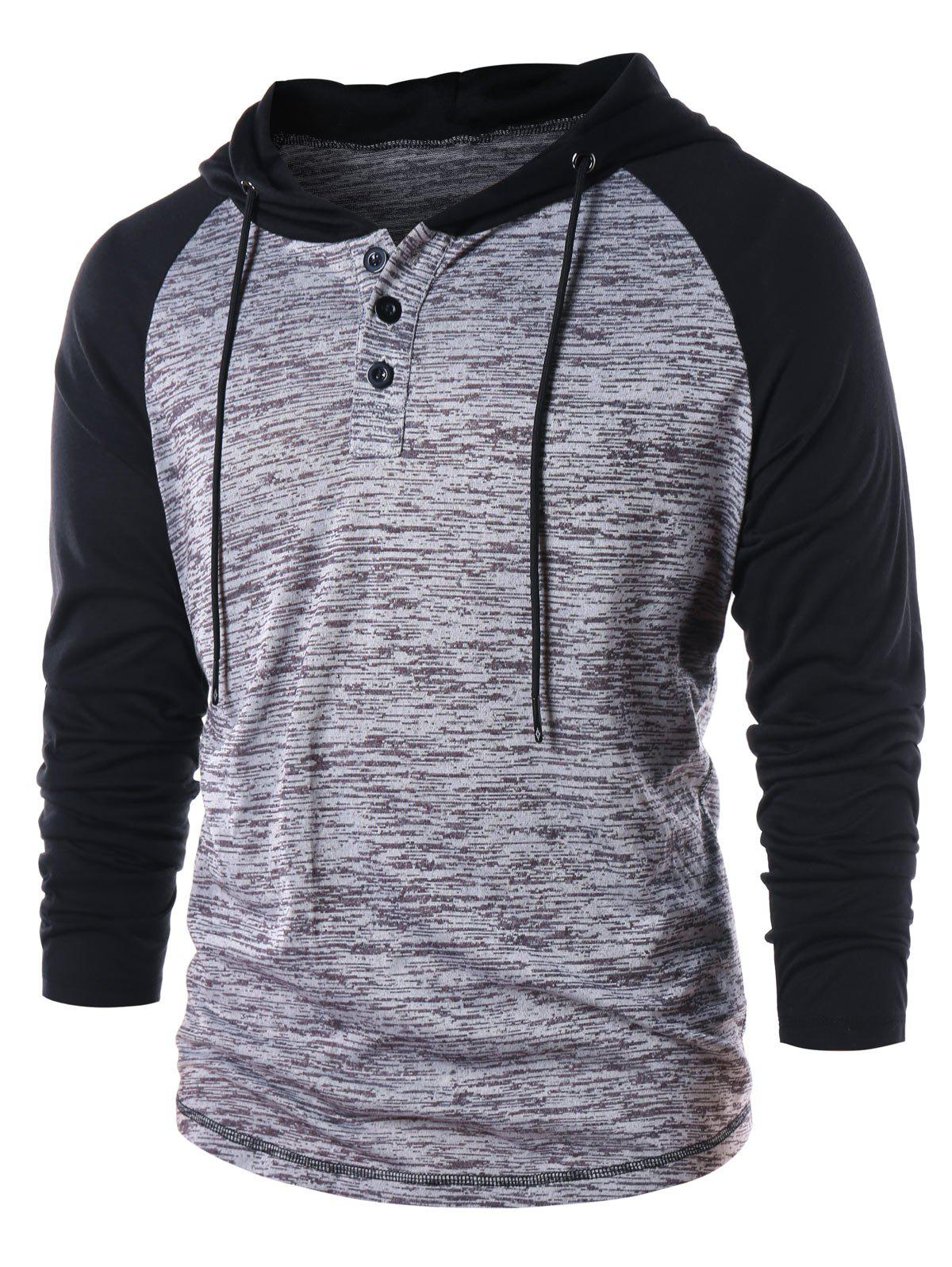 Casual Color Block Raglan Sleeve Hoodie - GRAY XL