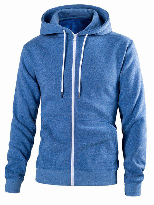 Solid Color Pouch Pocket Zip Up Hoodie - BLUE 2XL