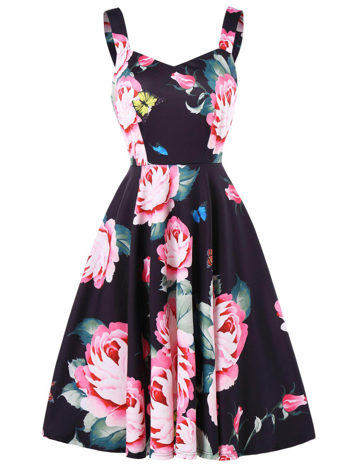 Floral Print Back Cut Out Skater Dress - BLACK L