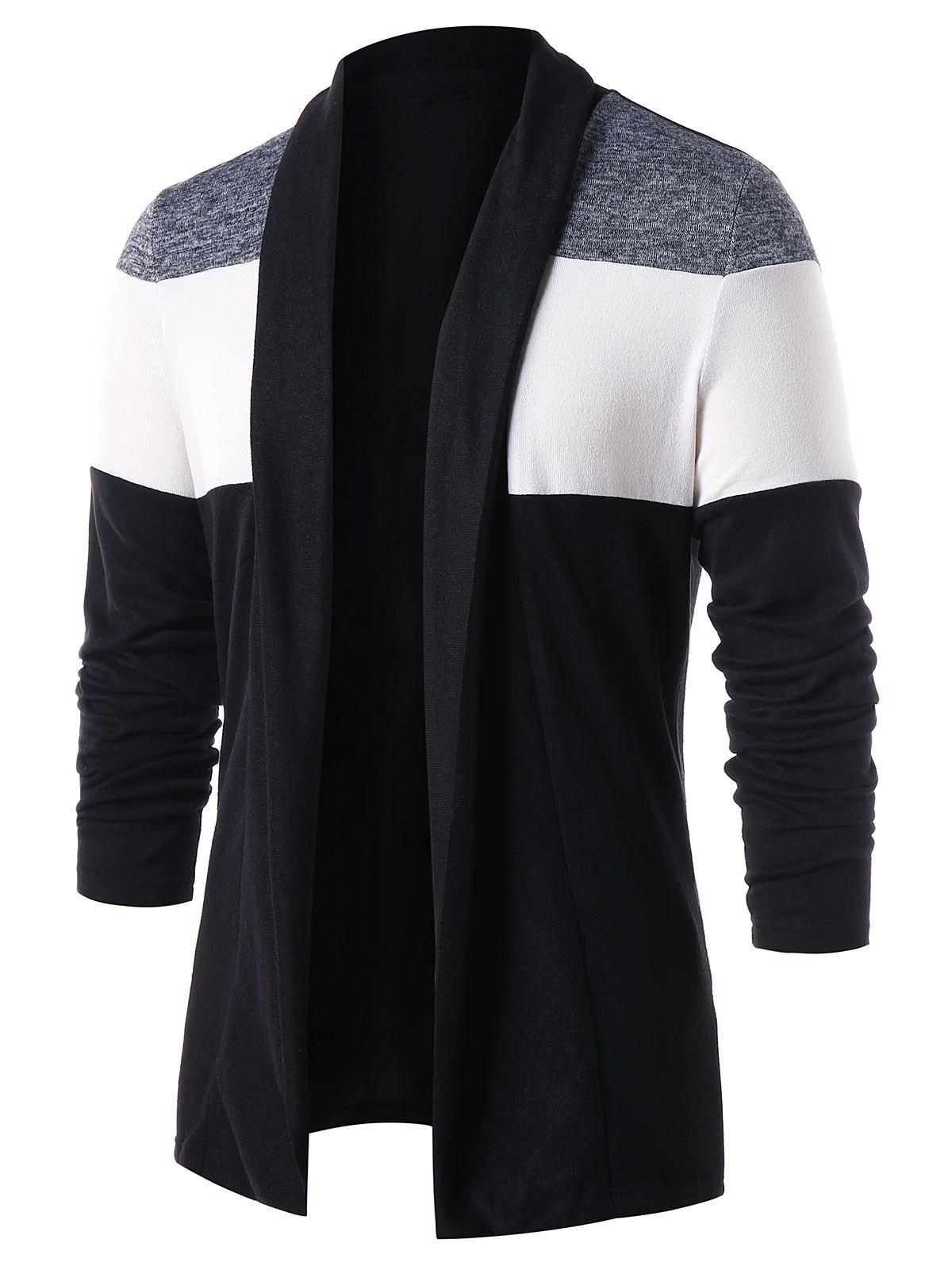 Casual Open Front Color Block Cardigan - BLACK L