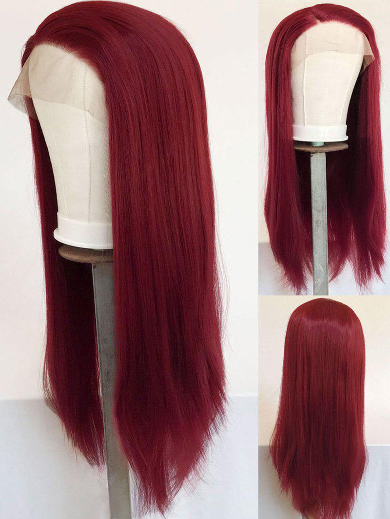 Long Side Parting Straight Party Synthetic Lace Front Wig - RED WINE 22INCH
