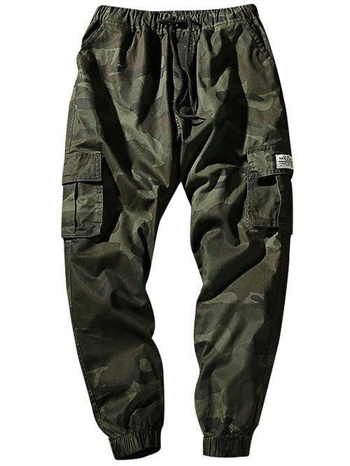 Camouflage Elastic Waist Flap Pockets Jogger Pants - ARMY GREEN S