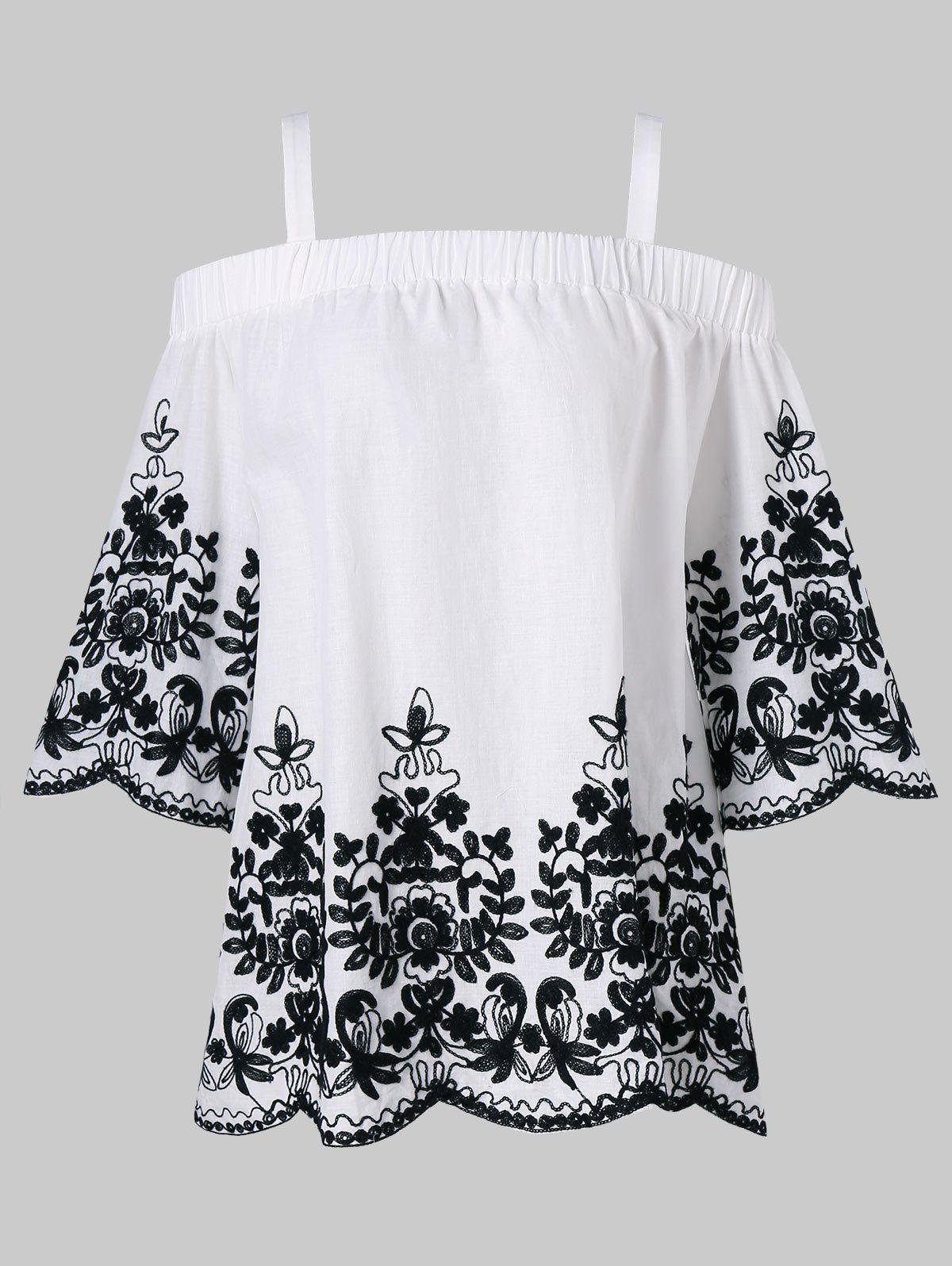 Embroidery Open Shoulder Top - WHITE XL