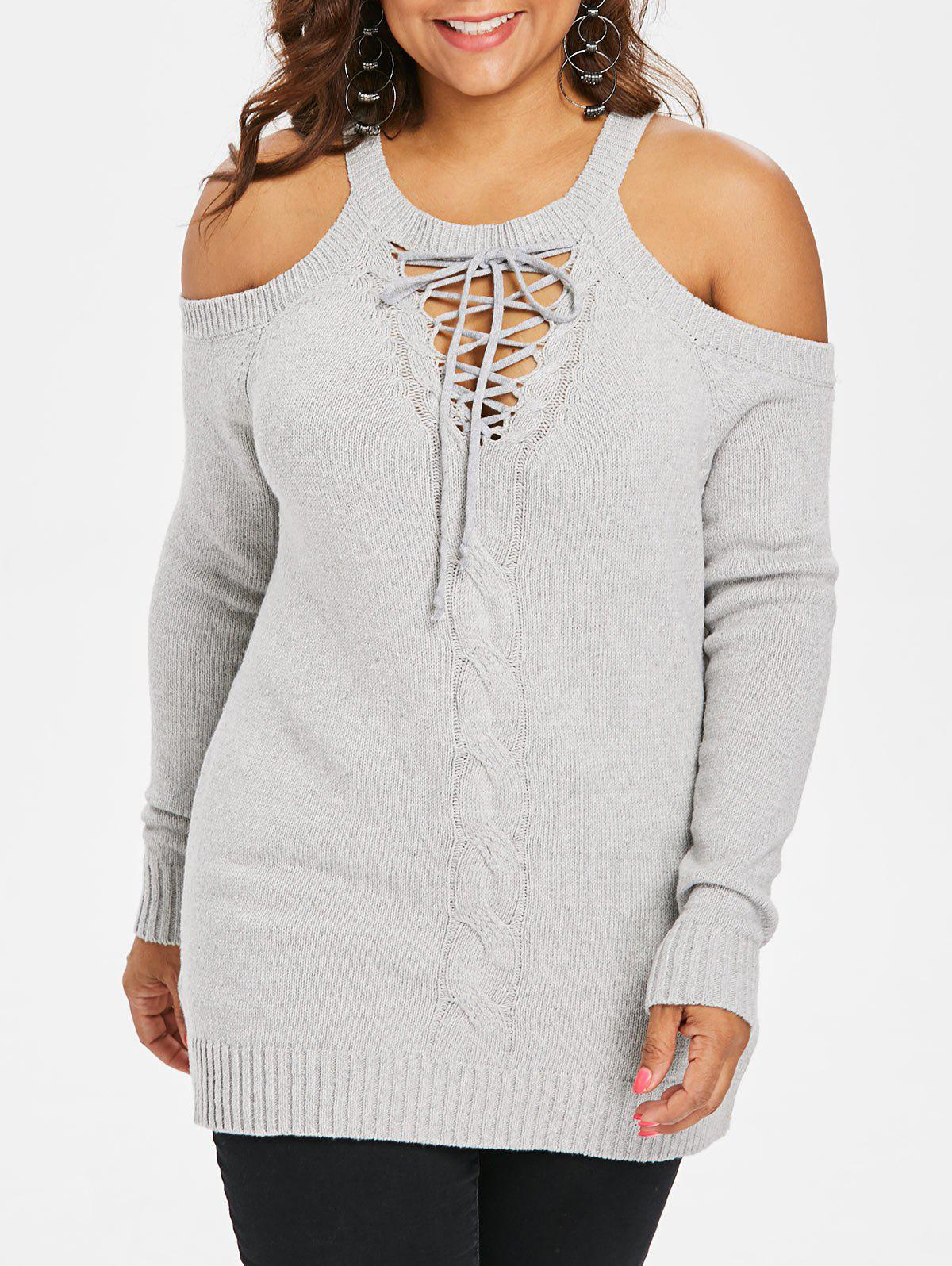 Plus Size Cut Out Cable Knit Sweater - LIGHT GRAY L