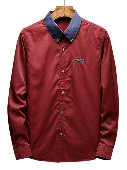 Chest Metal Embroidery Edge Contrast Shirt - RED WINE XS